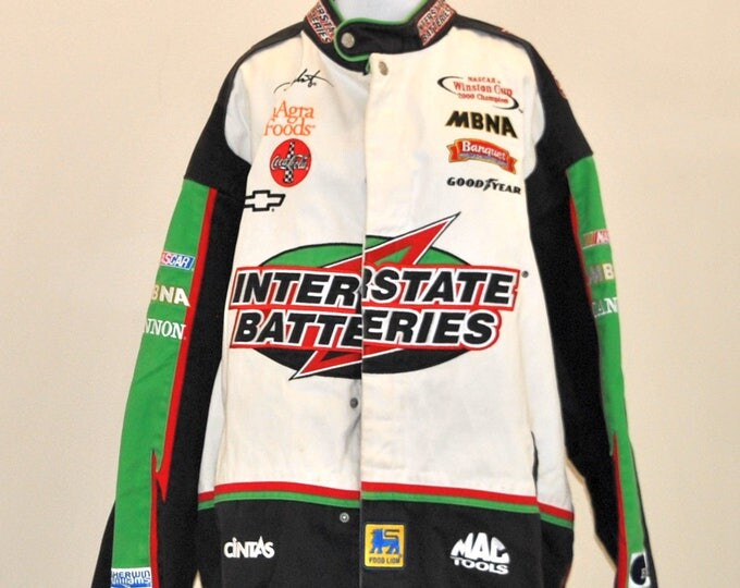 Vintage Nascar Coat, Bobby Labonte, Interstate Batteries, Chase Authentics Drivers Line, Size XXL, Nascar Racing Jacket, 1990s, Congra Foods