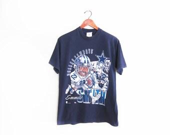 vintate t shirt / Dallas Cowboys shirt / 90s sportswear / 1990s Dallas Cowboys Emmitt Smith big head t shirt Small