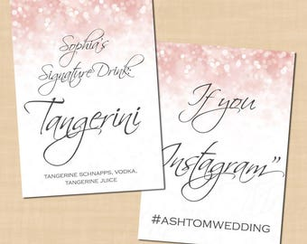 Pink Blush Glitter Wedding Signs, Signature Cocktail, Instagram, Menu (5x7, Portrait): Text-Editable in Word, Printable Instant Download