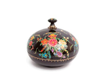 Vintage Kashmir Paper Mache Domed Box Large Trinket Box Jewelry Black Lacquer Ware Hand Painted Floral Gold Leaf Made in India Powder Box
