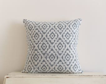 Diamond ikat pillow cushion cover in grey