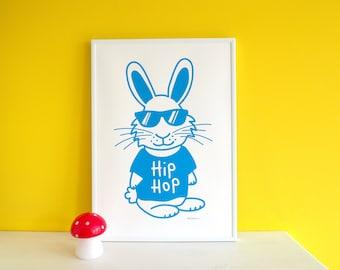 Hip Hop Bunny Screen Print, Rabbit Print, Funny Animal Art, Kids Bedroom Print, Nursery Wall Art, Blue Screenprint, A3 Poster Art, Cute Art