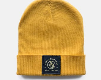 Mustard 'Insignia' Embroidered Beanie by Art Disco