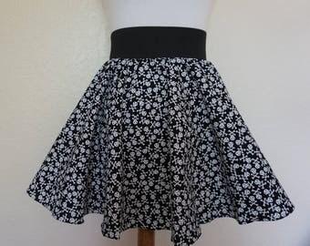 Skull Skirt, Goth Skirt, Punk Skirt, Circle Skirt, Skater Skirt