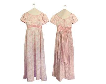 Vintage Pink Dress 60s Dress Pink Maxi Dress Semi Formal Dress Bow Dress Empire Waist Dress Full Lengt Dress 60s Maxi Dress 1960s Dress