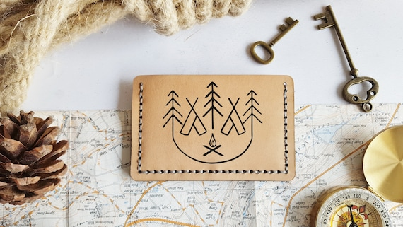 Mountain Card Wallet, Personalised leather card holder, hand stitched wallet, fathers day gift, mountaineering boyfriend card holder