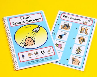 I Can Take a Shower - PECS Grooming Story and Picture Schedule Board Visual Aid Autism - Deodorant Hygiene Social Stories - The Autism Shop