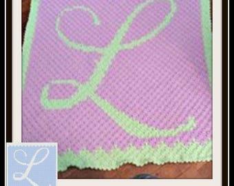 Letter L Baby Blanket, C2C Graph, Crochet Pattern