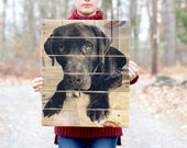 Custom Pet Portrait, Dog gift Pet Memorial, Pet Mom, photo to wood, Custom Wooden Photo Gift on Reclaimed Pallet Wood