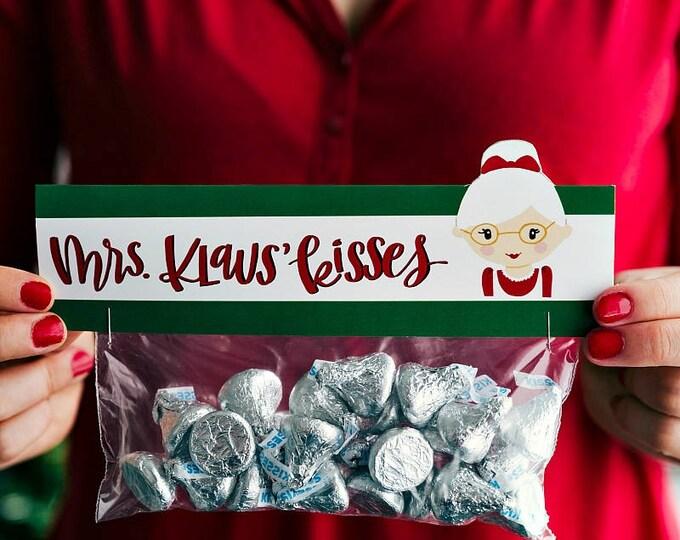 Mrs. Klaus Kisses - Printed Bag Toppers for Snack Size Ziploc Baggies