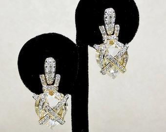 Vintage Crystal and Rhinestone Earrings signed Swarovski, Pierced earrings, heart shaped