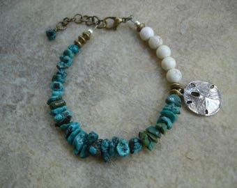 Asymmetrical Turquoise Boho Bracelet with Sand Dollar Charm, Gemstone Bracelet, Beach Jewelry, OOAK Jewelry, Beachlover