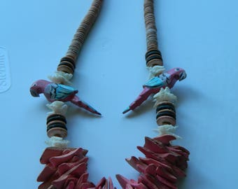 Chunky Pink Parrot Tropical Necklace, Tiki Parrot Necklace, Summer Tropical Parrot Necklace
