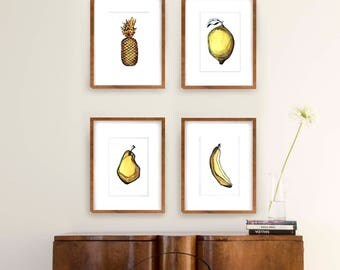 Set watercolor fruit print, set amount, set option, modern print set, fruit print wall art, watercolor print, choose set, sets