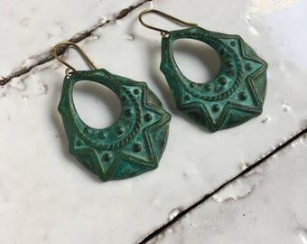 Verdigris Art Deco Earrings