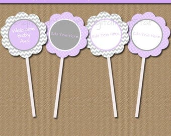 Printable Baby Shower Template, EDITABLE Cupcake Picks Baby Girl Shower Decorations, Lavender Baby Shower, Lavender Gray Cupcake Toppers BB1