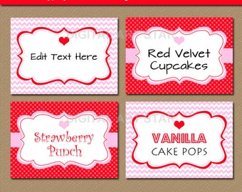 Printable Candy Buffet Labels, Tent Cards, Valentine Place Cards, Editable Valentines Day Buffet Cards, Heart Labels, Food Tents V1