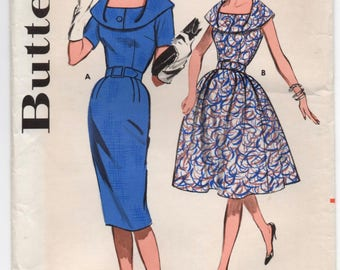 "1960's Butterick Wiggle or Rockabilly Dress with Cowl neckline Pattern - Bust 34"" - No. 9695"