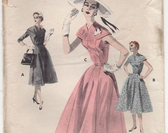 """1950's Butterick One Piece Dress with Capelet Yoke - Bust 38"""" - No. 7660"""