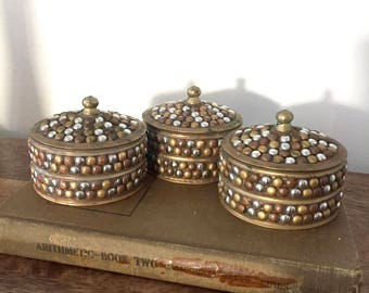 Vintage Brass container / Brass lidded container/ set of 3