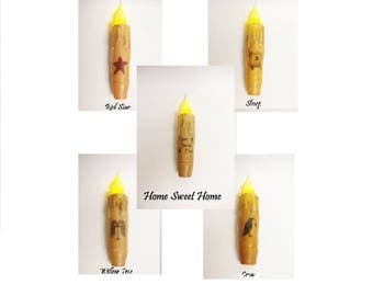 "Small Timer Taper Candle with Image, 4"" Timer Tapers, Primitive Candles, Country Farmhouse Decorative Candles"