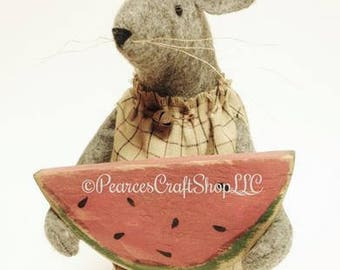 Primitive Mouse with Watermelon - Made To Order, Summer Decor, Americana Decor