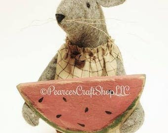Primitive Mouse with Watermelon - Made To Order, Handmade Mouse, Decorative Mice, Watermelon Mouse, Summer Decor, Primitive Americana