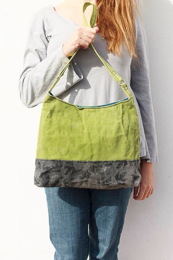 Waxed Canvas Bag in Lime Green and Charcoal Grey, Hand Made Hobo Bag, Waxed Canvas Purse