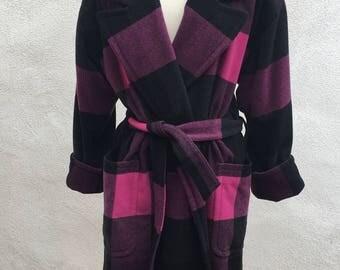 Vintage 80s wool plaid wrap coat by Mondi lined pockets Sz 34 S/M purple pink black