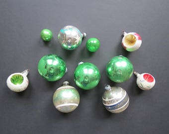 Mismatched Ornaments Lot // Vintage Worn Antiqued Christmas Ornaments Collection Green Silver Mid Century Rustic Shabby Chic Decorations