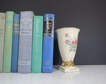 Vintage Floral Vase // Elegant Victorian Edwardian Style China Ceramic Vase with Flower Transfer Pattern Gold and White Ivory Wedding Decor