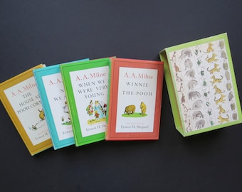 Pooh Bear Books Set // Vintage Boxed Set of Four 4 Children's Story Books with Dust Jackets Nursery Decor New Baby Gift Idea 1960's Colorful