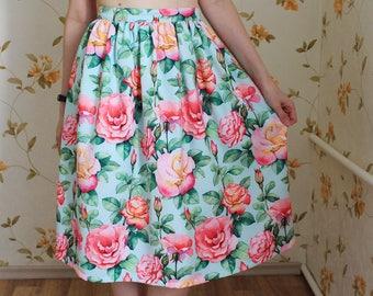 Rose Flower Floral Print Skirt Midi Skirt Colorful Summer Watercolor Print