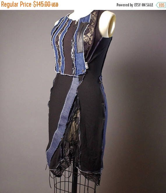 OOAK Denim Dress - Up-cycled Denim dress - Street wear - Funky - Summer Dress - Steampunk