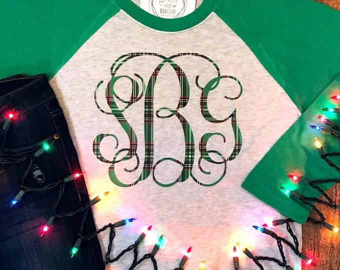 Featured listing image: Holiday Monogrammed Shirt - Plaid Monogram Raglan Tshirt - Tartan Monogram Shirt - Sweater Pattern Monogrammed Raglan Baseball Shirt