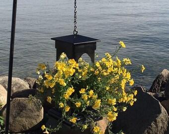 Black PVC planter. durable, decorative, small lantern, fairy garden ez fill, ez clean, petite planter, hanging planter, Made in USA