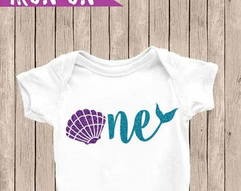 One Iron On Decal, One Birthday Onesie, Mermaid Birthday Outfit, DIY Birthday Shirt, Mermaid Shell Onesie DIY