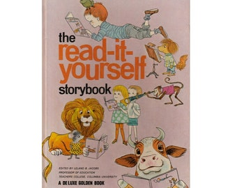 vintage children's beginner reader book The Read-It-Yourself Storybook, easy simple stories, kids early reading skills, Deluxe Golden Book
