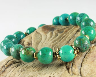 Natural Turquoise Bracelet, stretchable bracelet, blue green gemstone, gold, semi-precious, stackable, December birthstone,holiday gift 3943