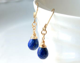 Lapis Lazuli Earrings, Gold-filled wire wrap, royal-blue gemstone, lever back teardrops, December birthstone, holiday gift for her, 2963