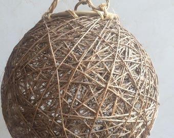 Abat-jour, suspension, boule osier ficelle rotin vintage