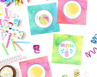 Summer Cupcake Toppers - Dive In Movie Party - Summer Birthday Party