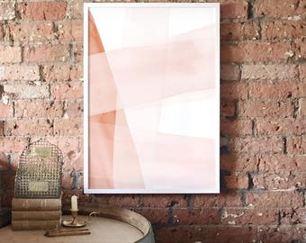 Blush and Copper Abstract A1 Art Print, Watercolour Strokes, Pink and Copper Poster, Minimalist Art, Light Modern Abstract Art, Wall Decor