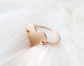 Heart Ring, Sweetheart Jewelry, Rose Gold, Dainty Accessories, Valentine's Day, Mother's Day, Gifts For Her