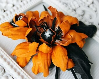 Orange/Black Leather Flower Brooch/ Hairclip