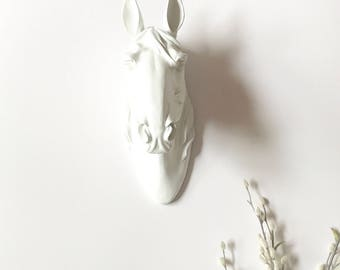 WHITE Large HORSE Head Faux Taxidermy animal head wall mount farm house decor white horse wall hanging ranch decor girls room kids room wall