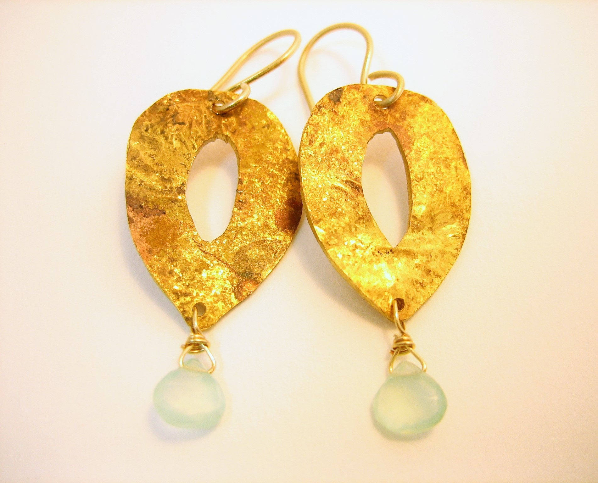 Gold and mint green earrings, gold and sea green gemstone droplet earrings, faceted green chalcedony earrings, bridal jewelry