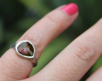 tourmaline ring, rose cut, silver ring, recycled silver, organic jewelry, watermelon tourmaline, hand carved