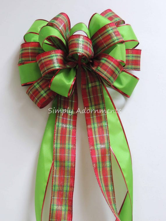 Red Green Christmas Plaid Bow Red Lime Tartan Christmas Wreath Bow Plaid topper Tree Bow Christmas Door Hanger Bow Red Green Plaid swag Bow