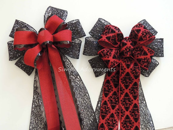 Burgundy Black Damask Christmas Wreath Bow Red black Christmas Tree Topper Bow Dark Red Black Swag Bow Wedding Aisle Bow Red Black Chair Bow